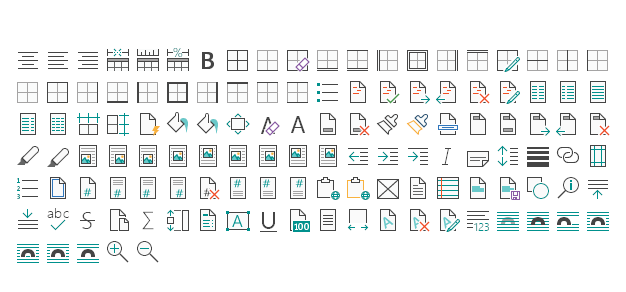 Glyfz Universal Apps Ribbon Bar Icons, Word Processing Set 1